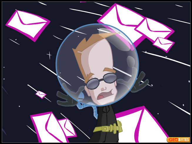 Futuristic cartoon character in space surrounded by mail