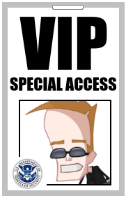 VIP Special Access Pass for futuristic cartoon character